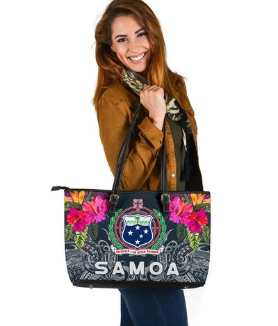 Samoan Polynesian With Hibiscus  Leather Tote Bag