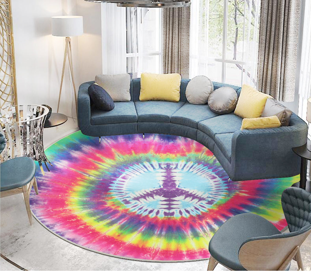 Hippie vintage style Round carpet all over print