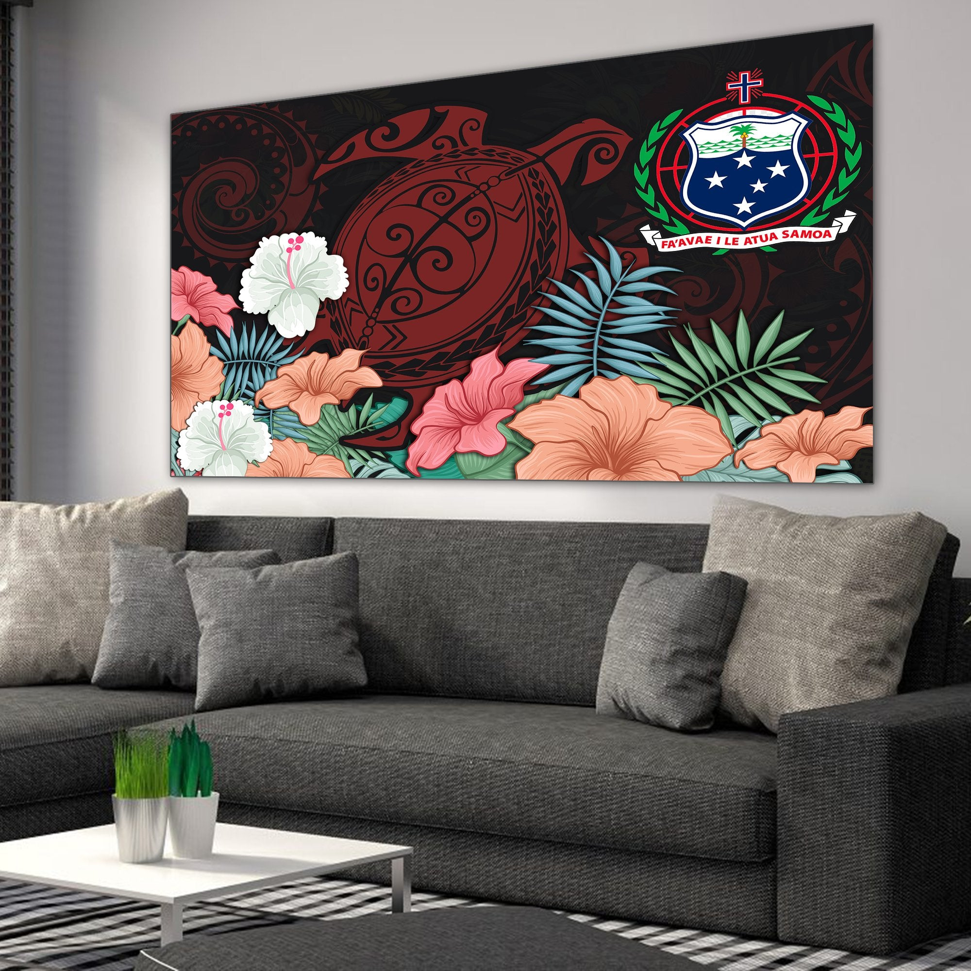 HIBISCUS AND SEA TURTLE RUG WALL