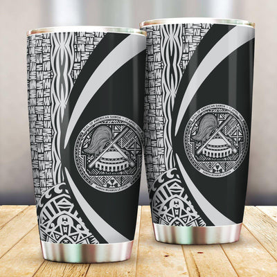 America Samoa Polynesian Tribal Circle Style White Color All Over Print Tumbler