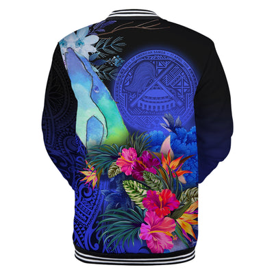 American Samoa Humpback Whale with Tropical Flowers All Over Print
