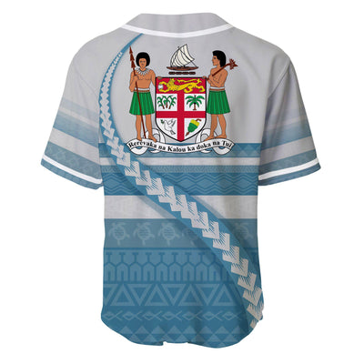 Fiji Coat Of Arms Tribal Line White Blue Baseball Jersey Shirt - luxamz