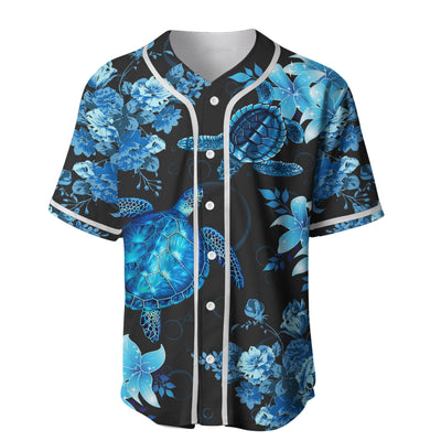 Blue Sea Turtle Hawaiian Baseball Jersey For Hot Summer