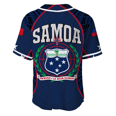 Samoa Sport Polynesian Coat Of Arms Gel Style Blue Baseball Jersey Shirt