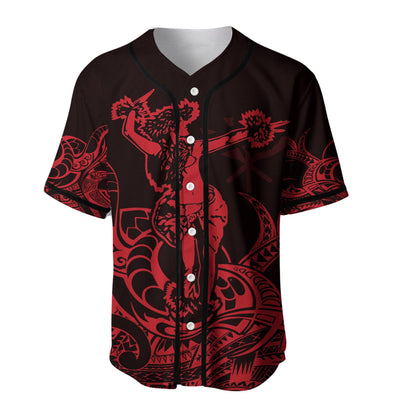 Polynesian Hawaii Hula Girl Neon Red Baseball Jersey Shirt