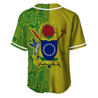 Cook Islands Coat Of Arms Polynesian Tattoo Half Style Baseball Jersey Shirt - luxamz