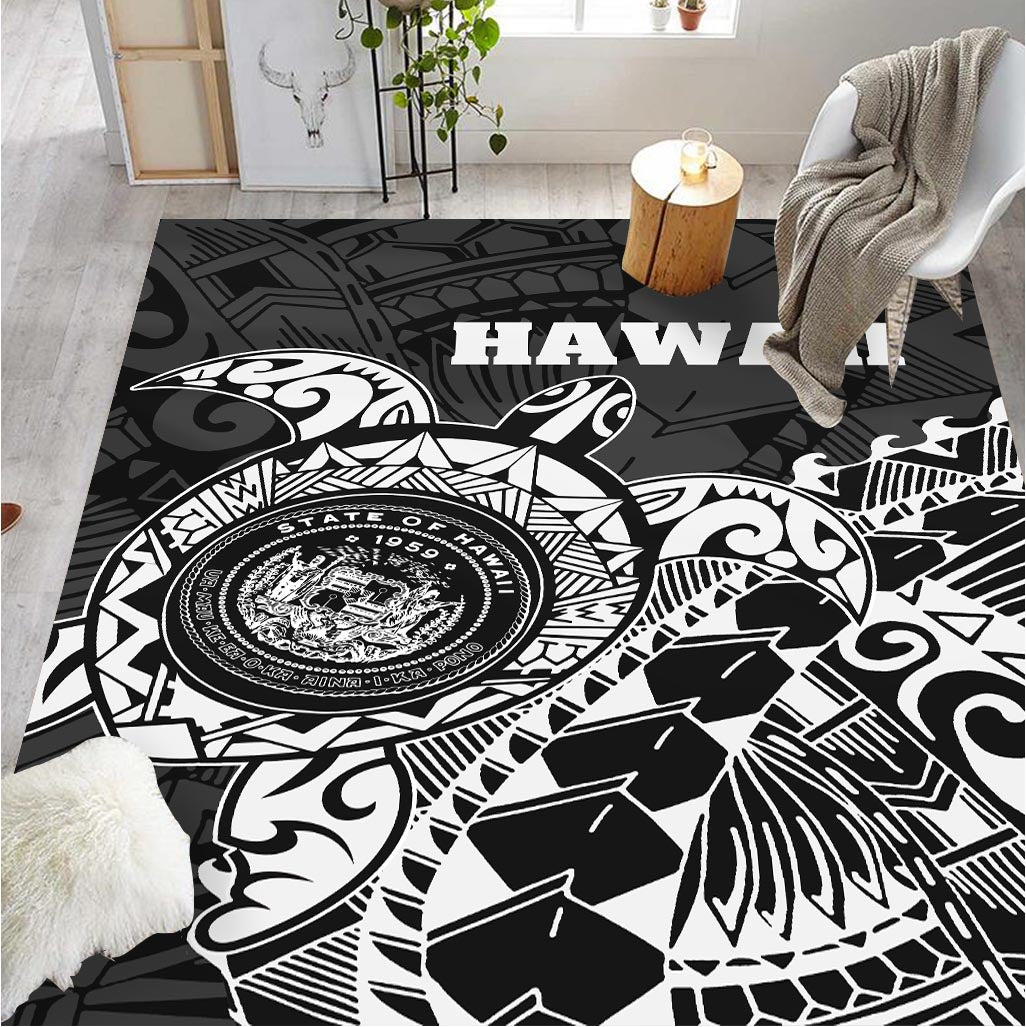 Hawaii Coat Of Arms White Turtle Style RUG - luxamz