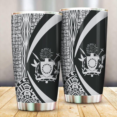 Cook Islands Polynesian Tribal Circle Style White Color All Over Print Tumbler