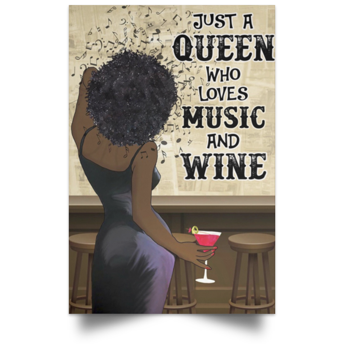 Moosfy Personalized Girl Love Music And Wine Poster - luxamz