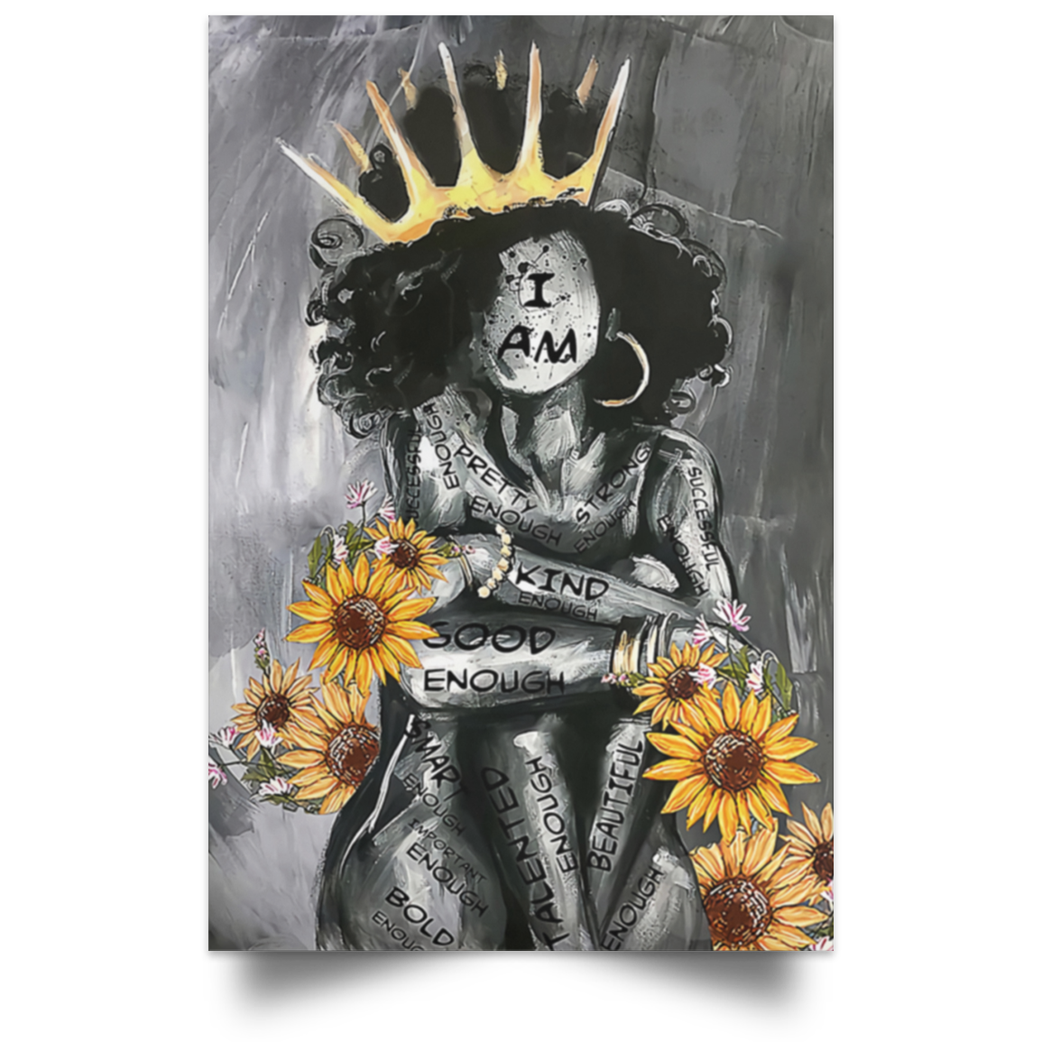 I Am Black Queen Good Enough Poster, African American Poster,Black Girl Sunflower Poster - luxamz