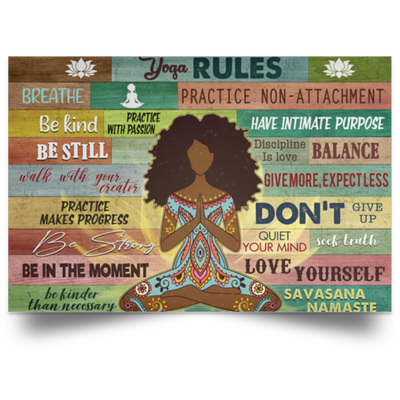 Yoga Rules Poster, Black Girl Meditation Poster, African Woman Yoga Art - luxamz