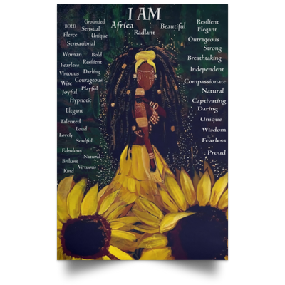I am Black Girl - Sunflower Poster - luxamz