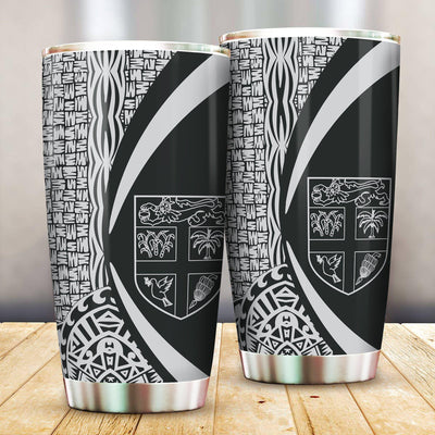 FIJI Polynesian Tribal Circle Style White Color All Over Print Tumbler