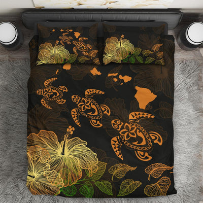 Hawaii Hawaiian Map Turtle And Hibiscus Bedding Set All Over Printed - luxamz
