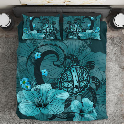 Hawaiian Map Big Turtle Hibiscus Plumeria Tribal Polynesian Bedding Set All Over Printed