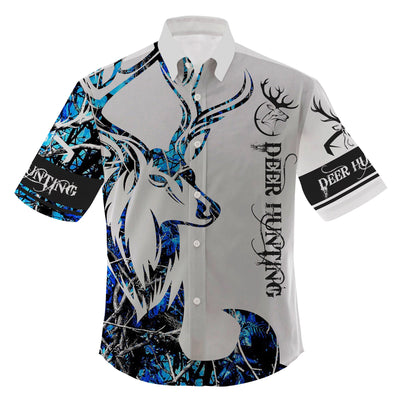 BLUE NEON DEER HUNTING LOVER HAWAII SHIRT FOR HOT SUMMER - luxamz