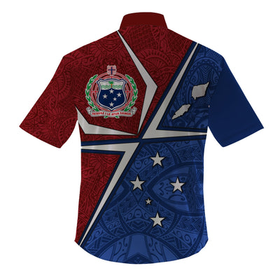 Samoa Flag with Polynesian Patterns Clothing For Hot Summer All Over Print - luxamz