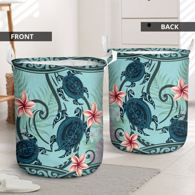 SAMOA POLYNESIAN TURTLE PLUMERIA LAUNDRY BASKET ALL OVER PRINT