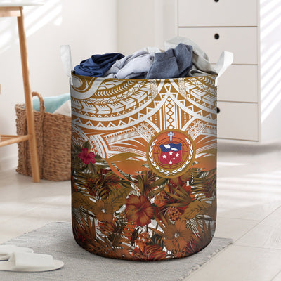 SAMOA POLYNESIAN PALM LEAVES HIBISCUS PLUMERIA FLOWERS LAUNDRY BASKET ALL OVER PRINT