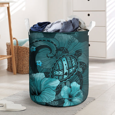 HAWAIIAN MAP BIG TURTLE HIBISCUS PLUMERIA TRIBAL POLYNESIAN LAUNDRY BASKET ALL OVER PRINT