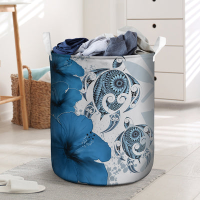 Kanaka Maoli Hawaiian Polynesia Turtle Hibiscus Blue laundry basket all over print
