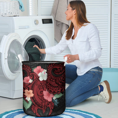 HIBISCUS AND SEA TURTLE LAUNDRY BASKET ALL OVER PRINT