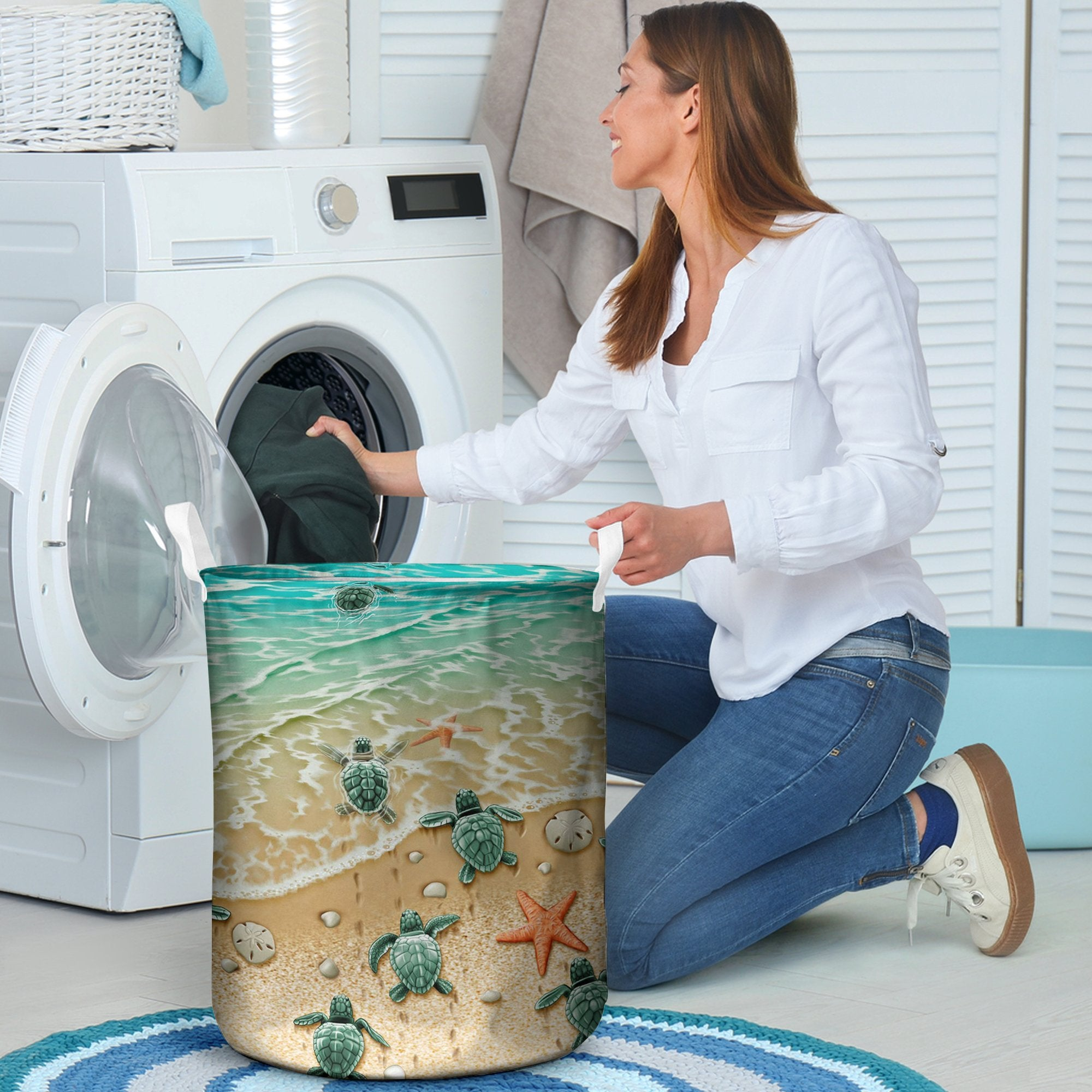 Sea Turtle Marine lover laundry basket all over print