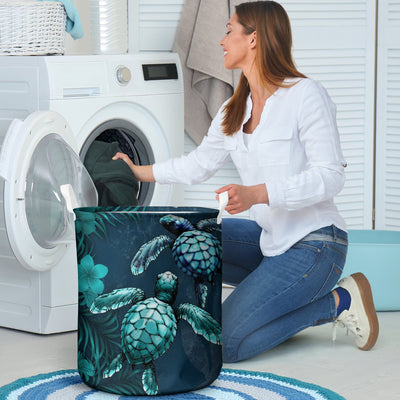 Kanaka Maoli Hawaiian Sea Turtle Tropical Hibiscus And Plumeria Blue basket all over print - luxamz