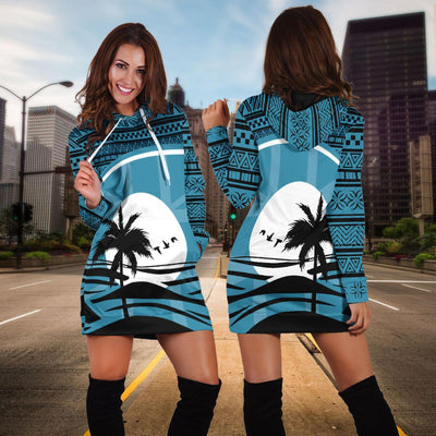Fiji Flag Coconut Tree Tapa Hoodie Dress
