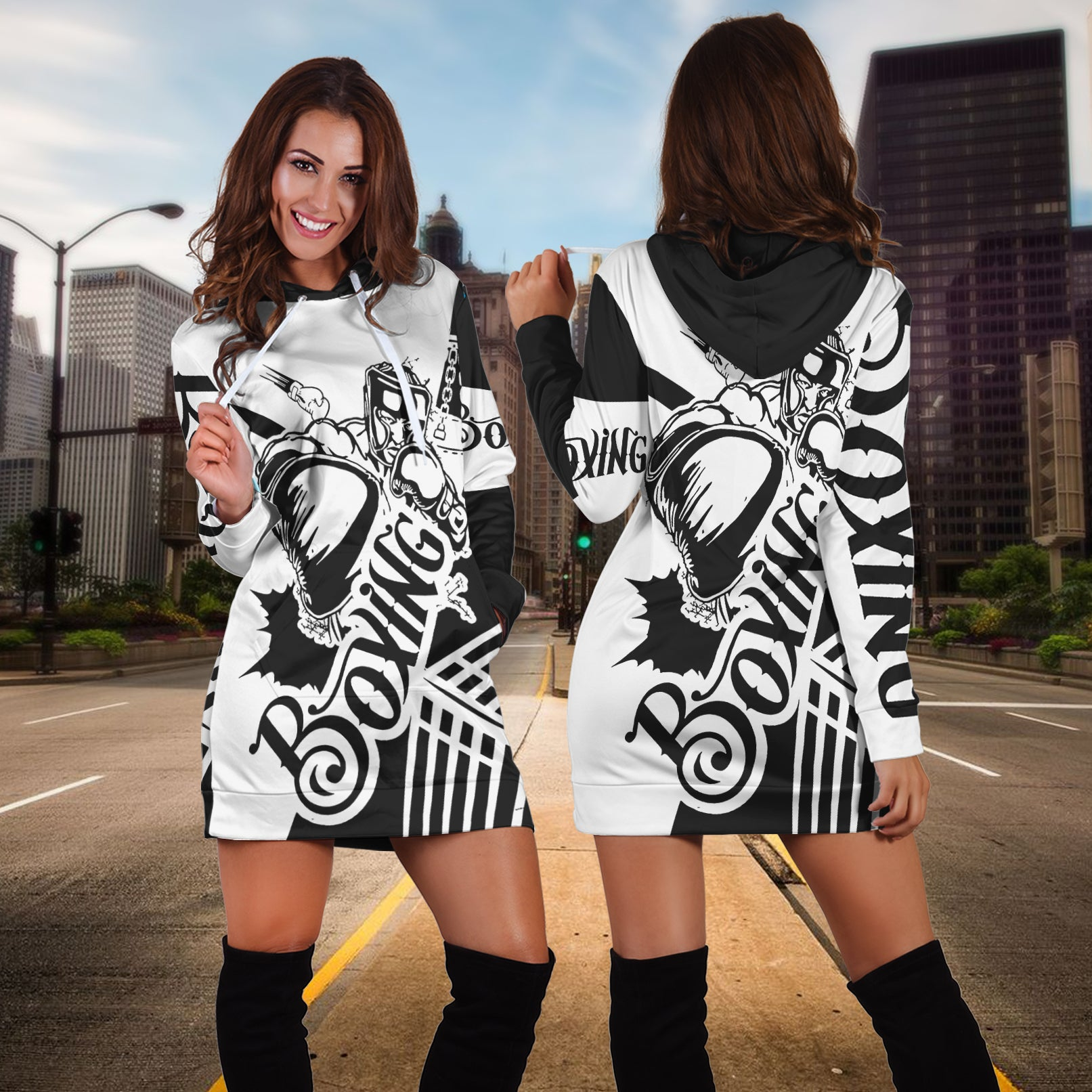 Boxing Hoodie Dress - luxamz