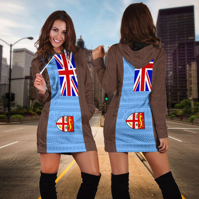 Fiji Tapa Flag Hoodie Dress