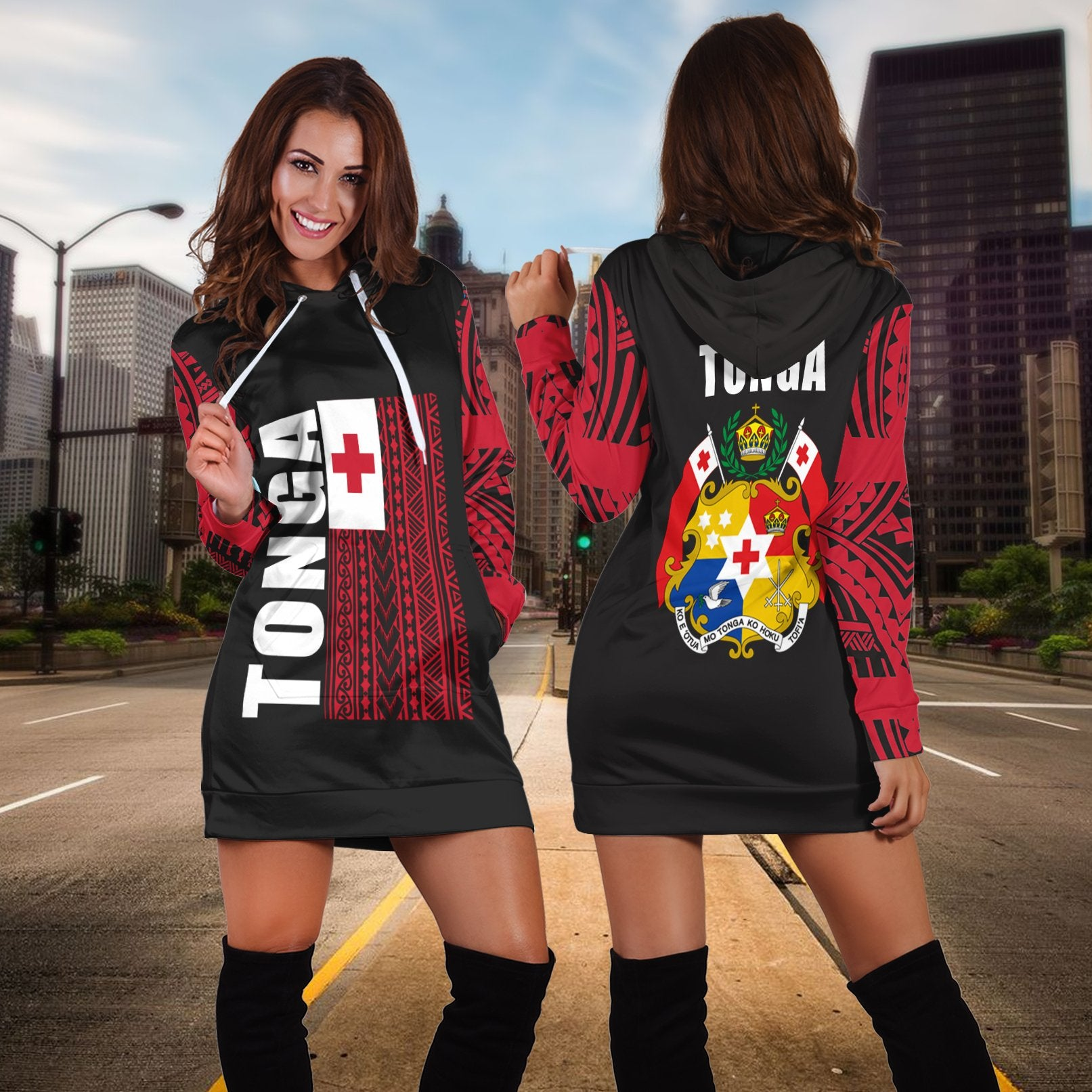 Tonga Flag All Over Hoodie Special Hoodie Dress