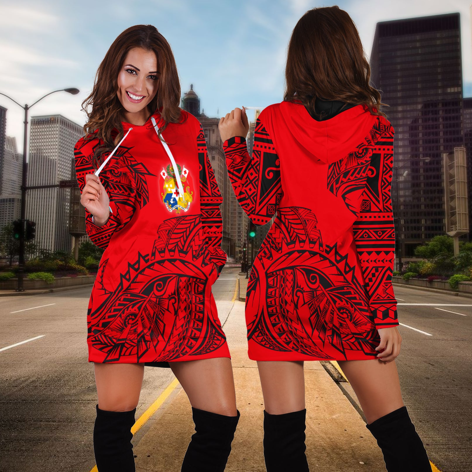 LIGERKIN POLYNESIAN TONGA YOUTHFUL DYNAMIC STYLE RED COLOR HOODIE DRESS