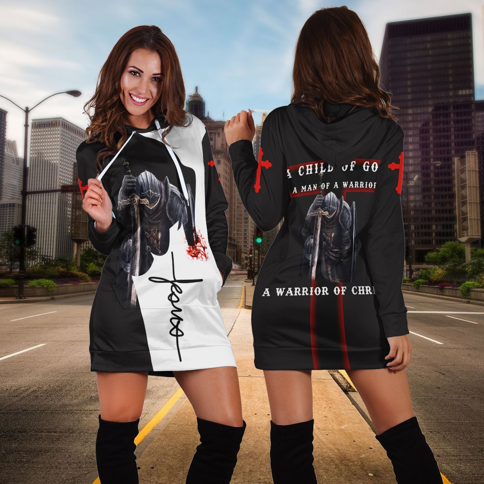 A Child Of God A Man Of A Warrior Of Christ Hoodie Dress - luxamz