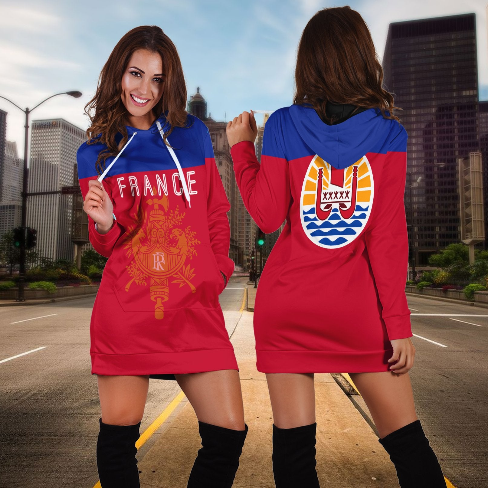 tahiti  flag france red with pattern Hoodie Dress