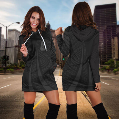 Guam Polynesian Coat Of Arms Grey Hoodie Dress - luxamz