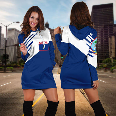 Guam Flag Coat Of Arms Line Style TH5 1ST Hoodie Dress - luxamz