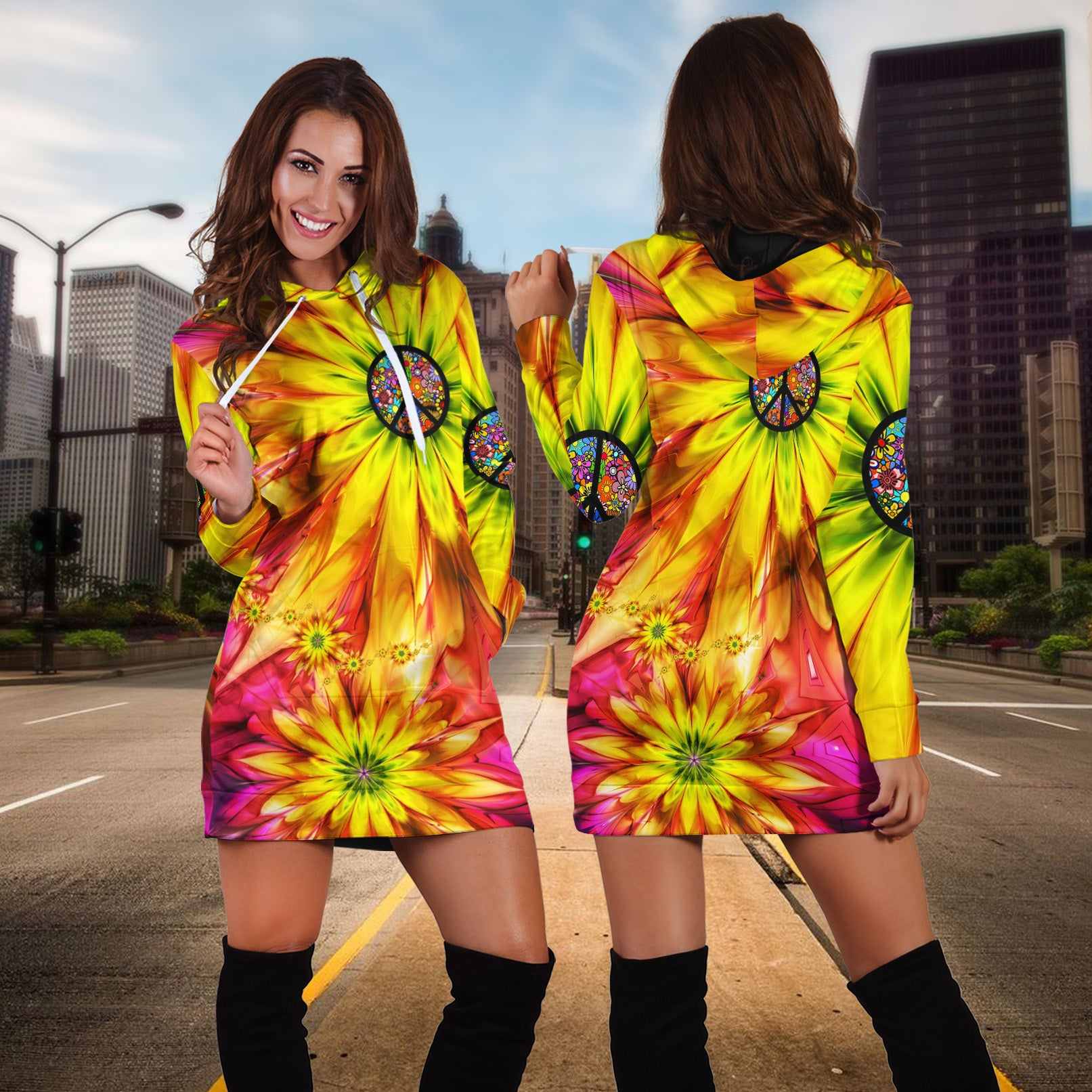 HIPPIE PEACE SIGN WITH SUNFLOWER HOODIE DRESS