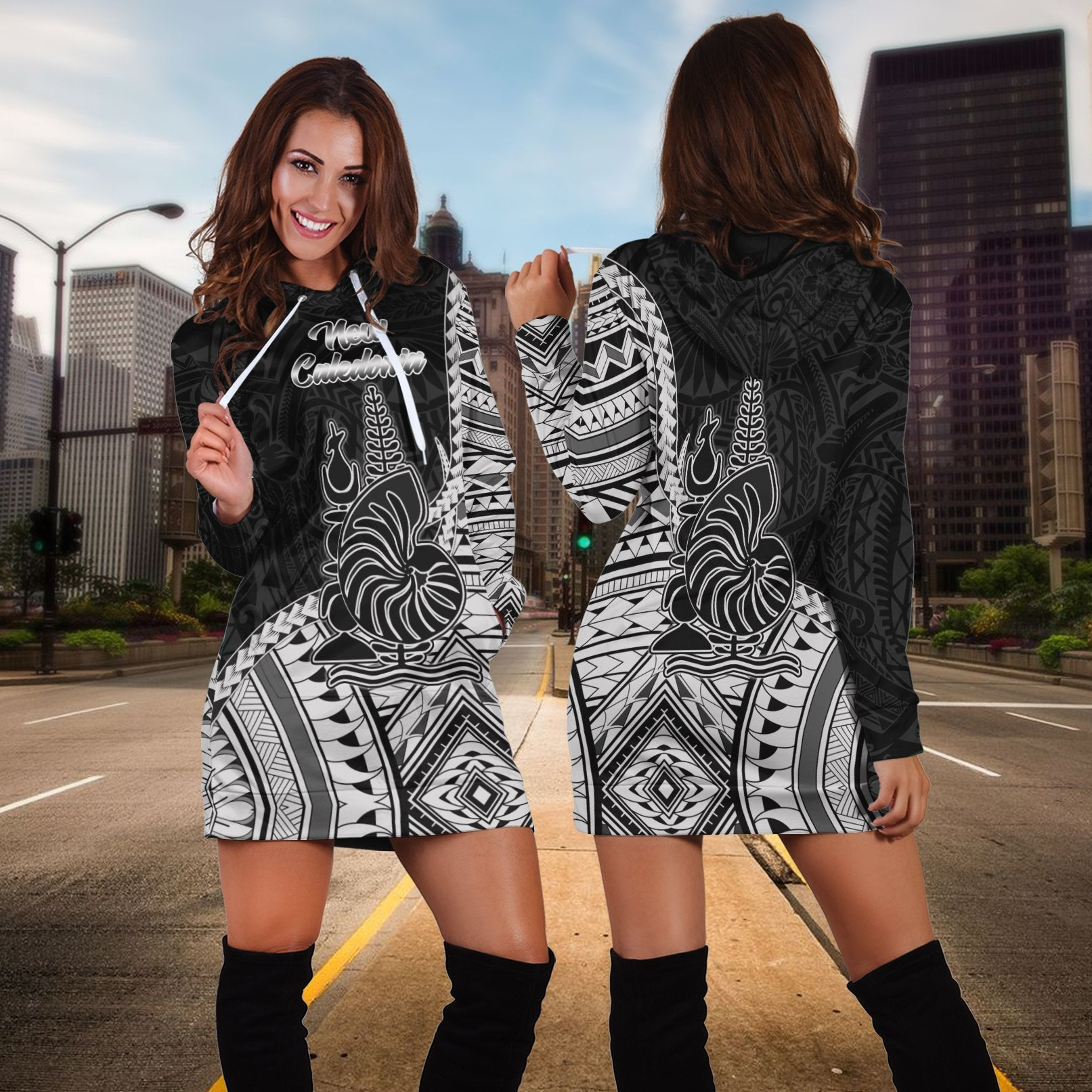 New Caladonia Seal Of New Caledonia Islands Polynesian Patterns Hoodie Dress - luxamz
