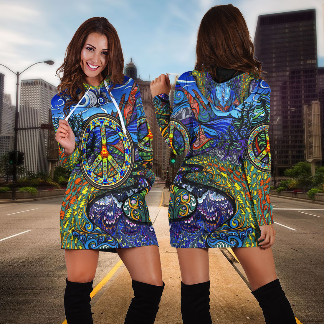 Hippie peace special gift hoodie dress