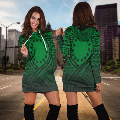 Cook Islands Lift Up Green Hoodie Dress - luxamz