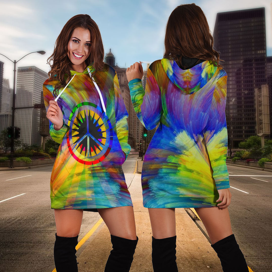 HIPPIE COLORFUL HOODIE DRESS