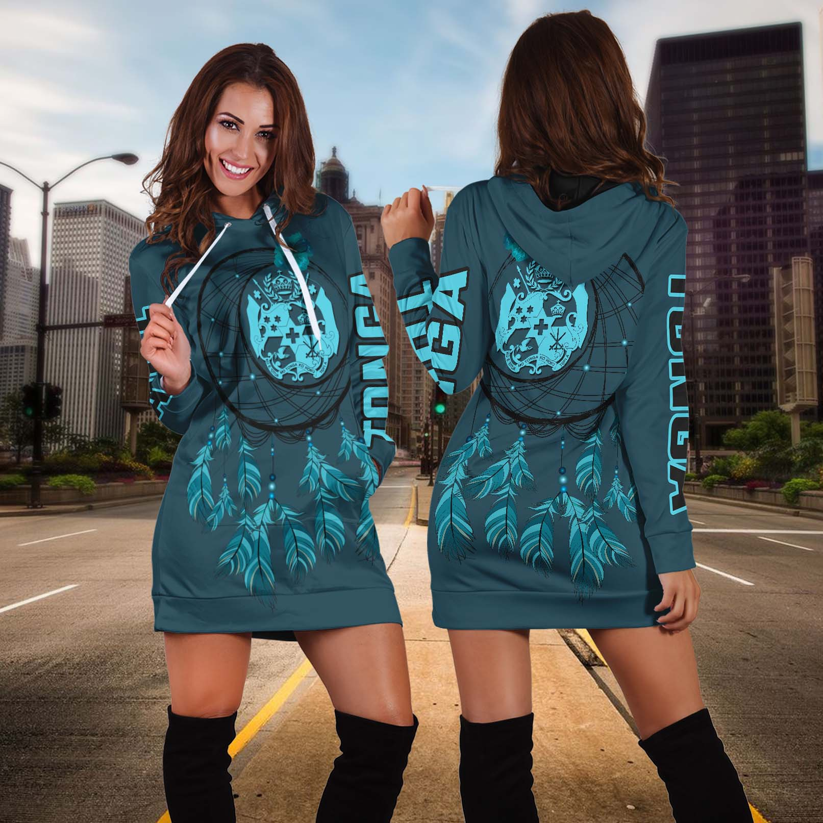 Tonga Dreamcatcher Hoodie Dress