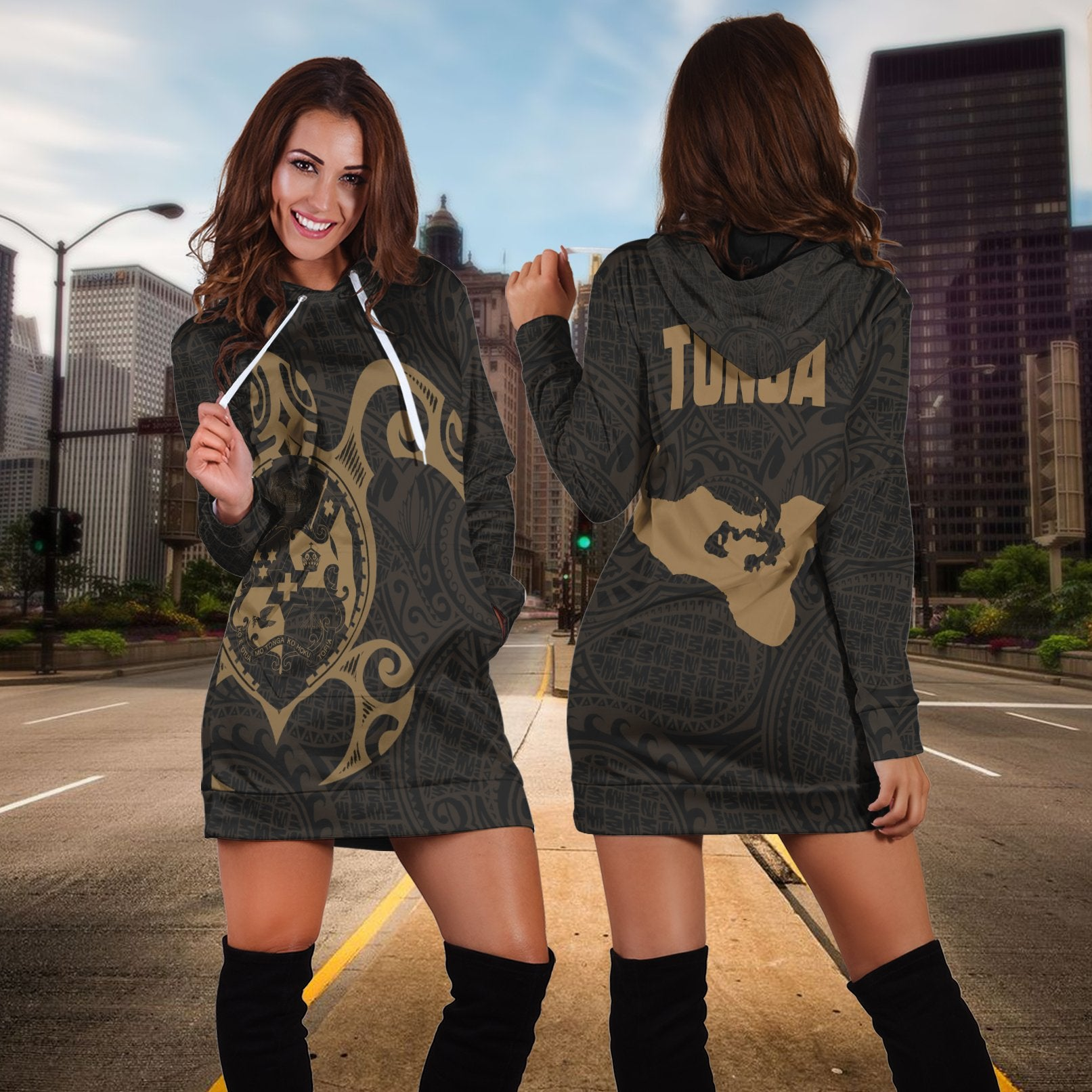 Tonga island and Turtle lover  Gold Hoodie Dress
