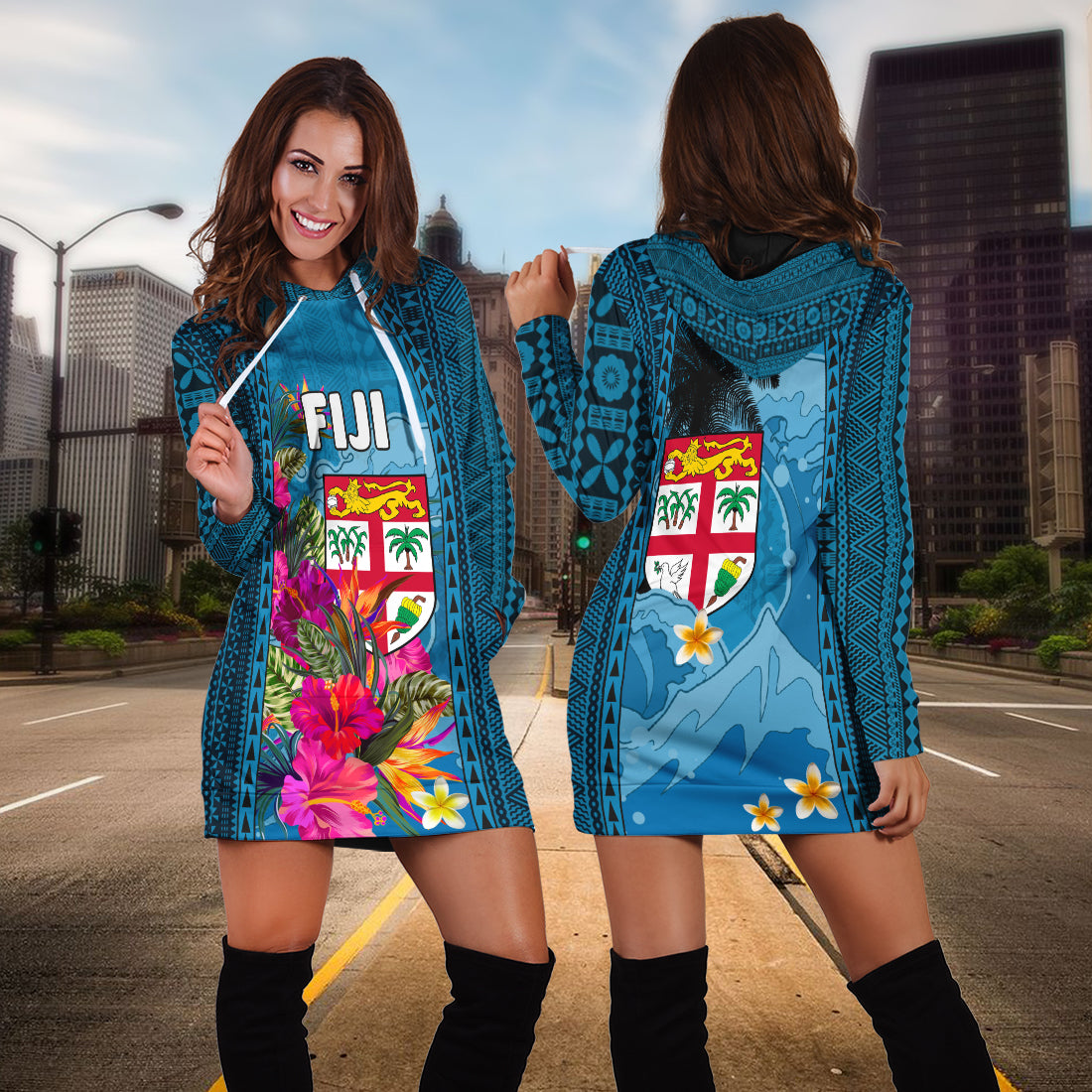 Fiji Coat Of Arms Polynesian With Hibiscus And Waves Hoodie Dress