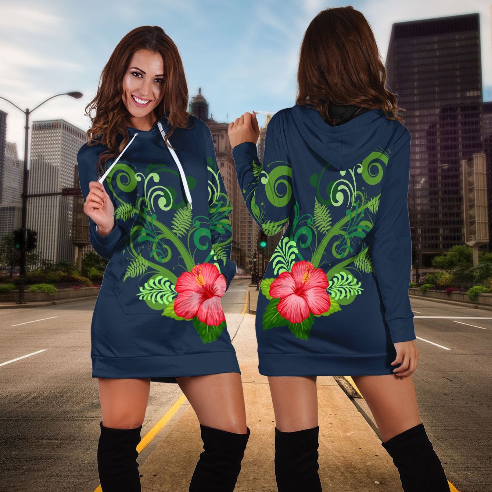 New zealand tropical forest and flower Hoodie Dress - luxamz