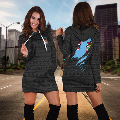 Fiji Tapa Flag Coat Of Arms Hoodie Dress - luxamz