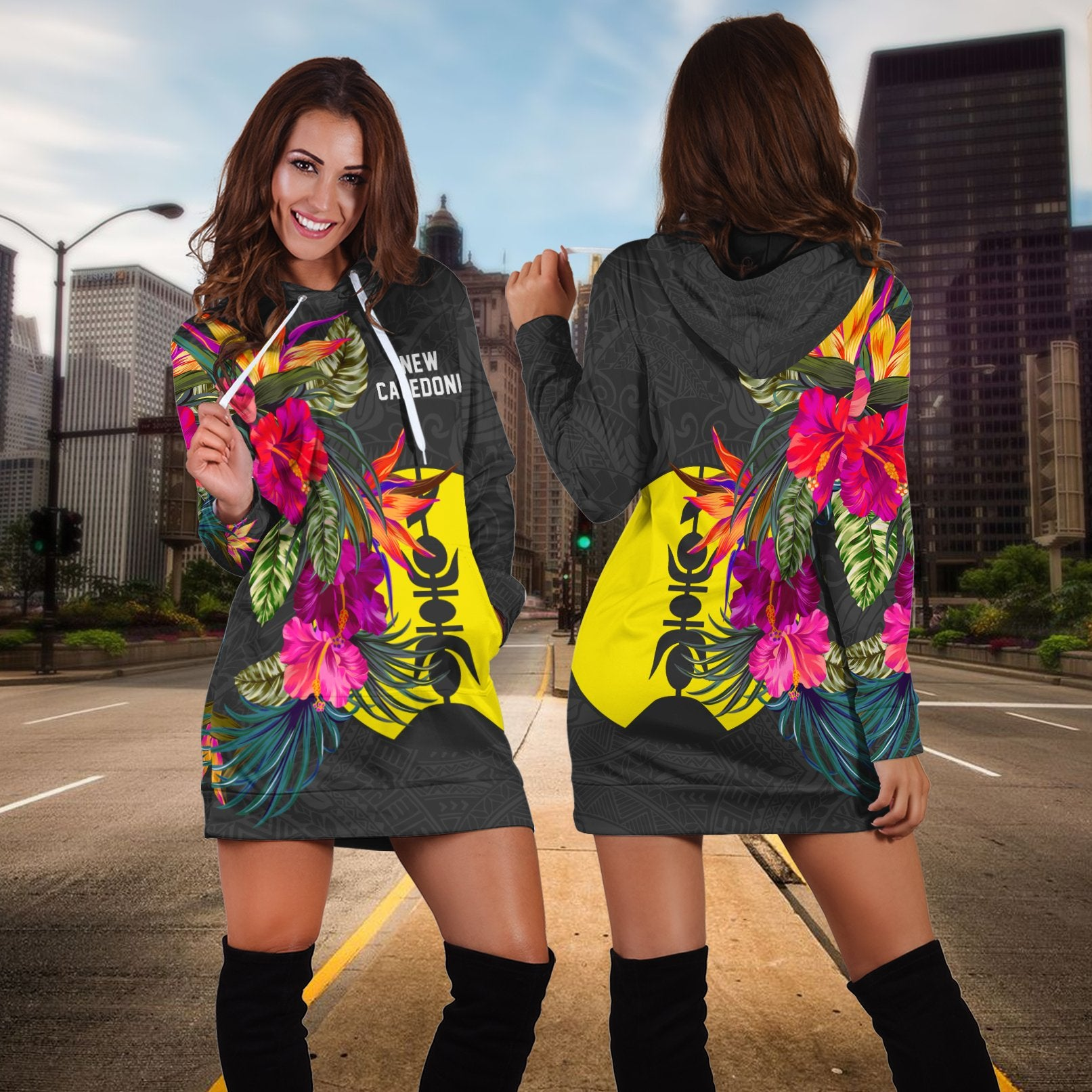 New Caledonia Polynesian Hibiscus Pattern Hoodie Dress - luxamz