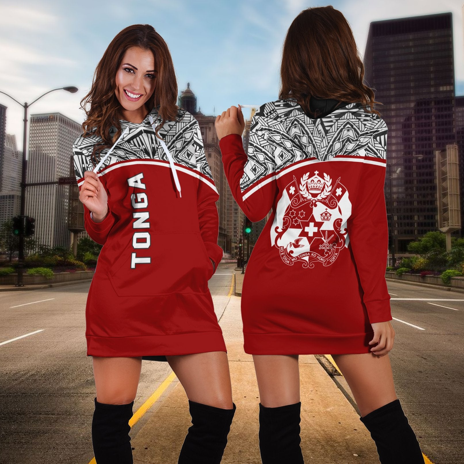 Tonga All Over Custom Personalised Red Curve Hoodie Dress