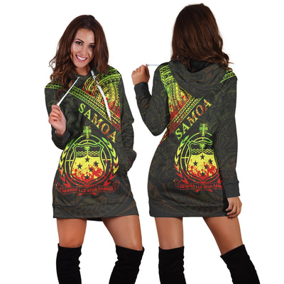 Samoa Custom Polynesian Patterns With Coat of Arms Reggae Color Hoodie Dress